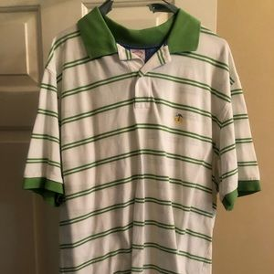 Men's brooks brothers sz L polo white w green